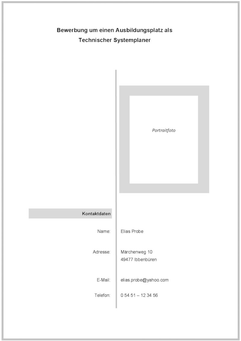 Deckblatt zur Bewerbung